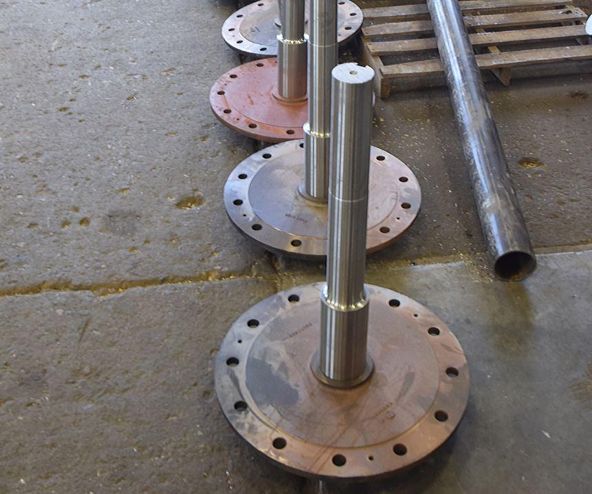 Large, flanged shafts