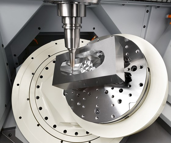 Three-axis machining forces the use of long tools to reach certain workpiece features while five-axis machining facilitates a more rigid tool and toolholder set, allowing for more aggressive machining.
