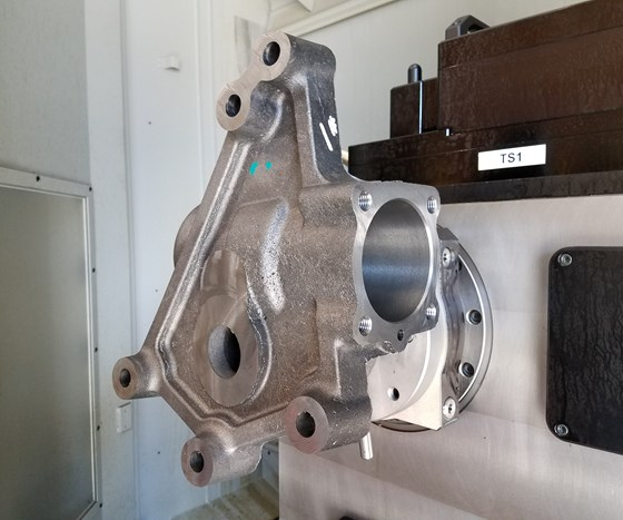 part fixtured on rotary indexing platter