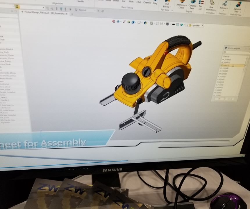 A screen from ZW3D CAD/CAM software