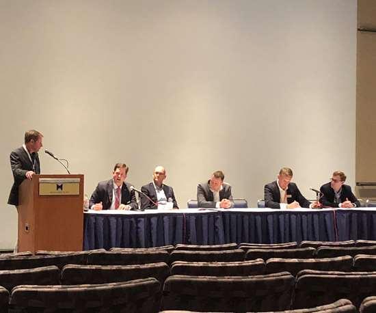 John Barnes, moderator; Rob Gorham, America Makes; Aaron Frankel, Siemens; Joe Inkenbrandt, Identify3D; Marc Saunders, Renishaw; and Will Herbert, Carpenter Technologies