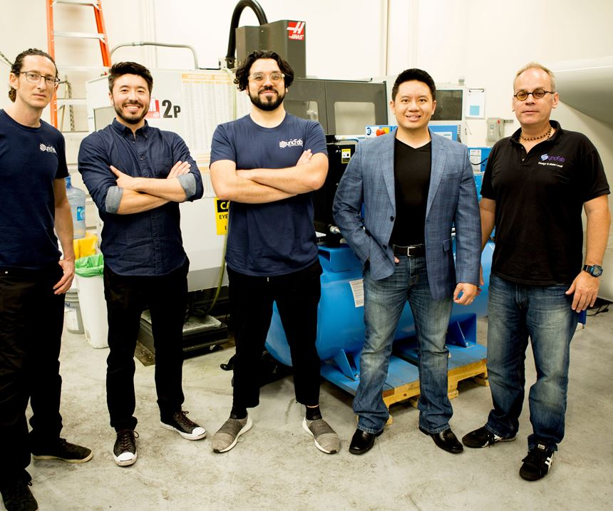 Members of SyncFab Team at the Los Angeles Headquarters of the The U.S. Department of Energy's Clean Energy Smart Manufacturing Innovation Institute (CESMII), with which SyncFab is a member and industry partner. From left to right: Ram Maurer, community manager; Nathan Makino, vice president of operations; Dennis Delgado, chief design officer; Andy Tong, chief strategy officer; and Jeremy Goodwin, CEO.