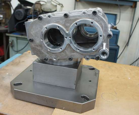 A component is assembled before finish-machining and mounted on an adjustable inner-diameter clamp.