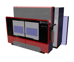Sized and shaped to look like a real-world machine from the front, this virtual display showcases the advantages of twin, horizontally mounted, five-axis spindles capable of processing parts independently.