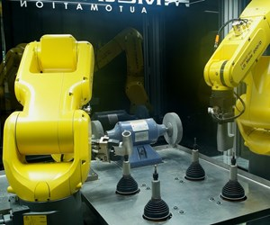 Robot arms work in concert to automate small-part deburring.
