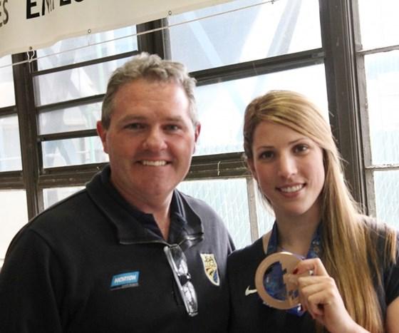 Norton Vice President Brad Johnson and Olympic Luge medalist Erin Hamlin