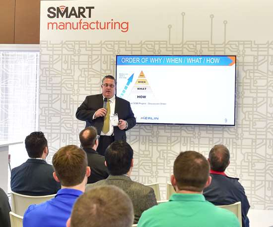 avid McPhail, president and CEO of Memex, gives a data-driven manufacturing presentation at Aerodef, hosted April 29 to May 1 in Long Beach, California. His IMTS Smart Hub presentation focuses on impactful continuous improvement.
