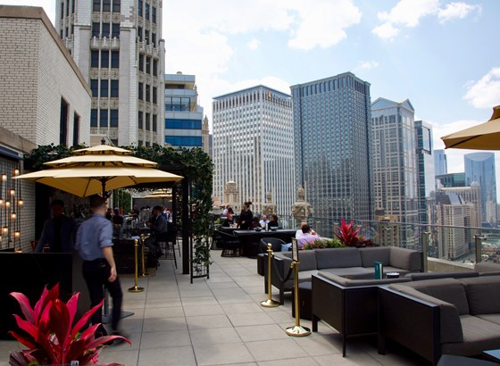 Riverside views like the ones in this photo are an attraction of Londonhouse, a rooftop bar and one of 20 locations detailed on Doosan's guide to Chicago eateries.
