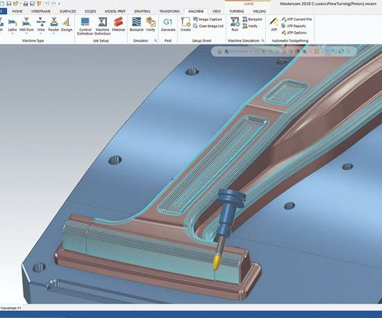 five-axis tool paths in Mastercam 2019