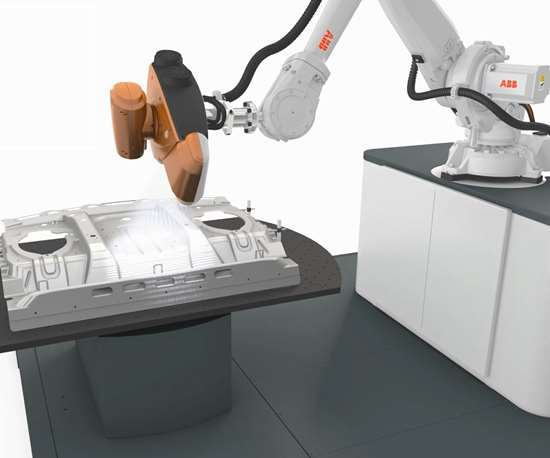 robot with white-light scanning sensor for part inspection, especially automotive inspection