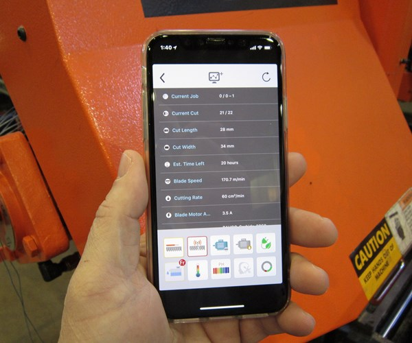 Cosen band saw app for predictive maintenance