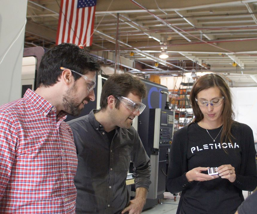 Barbara Decker-Schoegl, production manager, discusses a recent custom machining job with Plethora founders Jeremy Herrman and Nick Pinkston