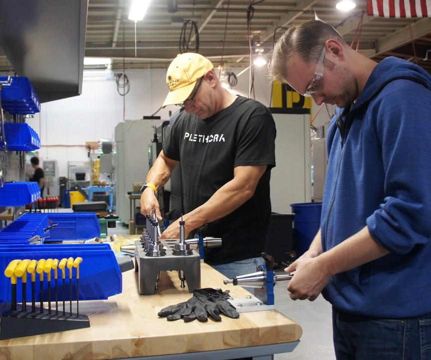 Plethora employees prepare tool assemblies for upcoming custom machining jobs