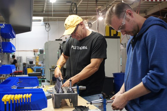 Plethora employees prepare tool assemblies for upcoming custom machining jobs