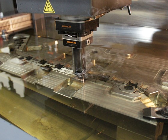 Like other mold manufacturers, Precise Tooling Solutions uses sinker-type electronic discharge machines (EDM) to finish features deemed too difficult to mill.