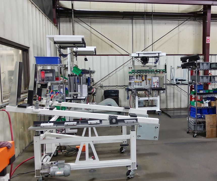 Ergosmart ergonomic workbenches, along with the equipment and tools used to assemble them, occupy a separate area of the shop floor.