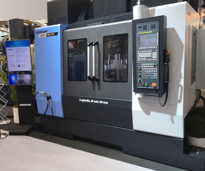 full view of Doosan two spindle machining center