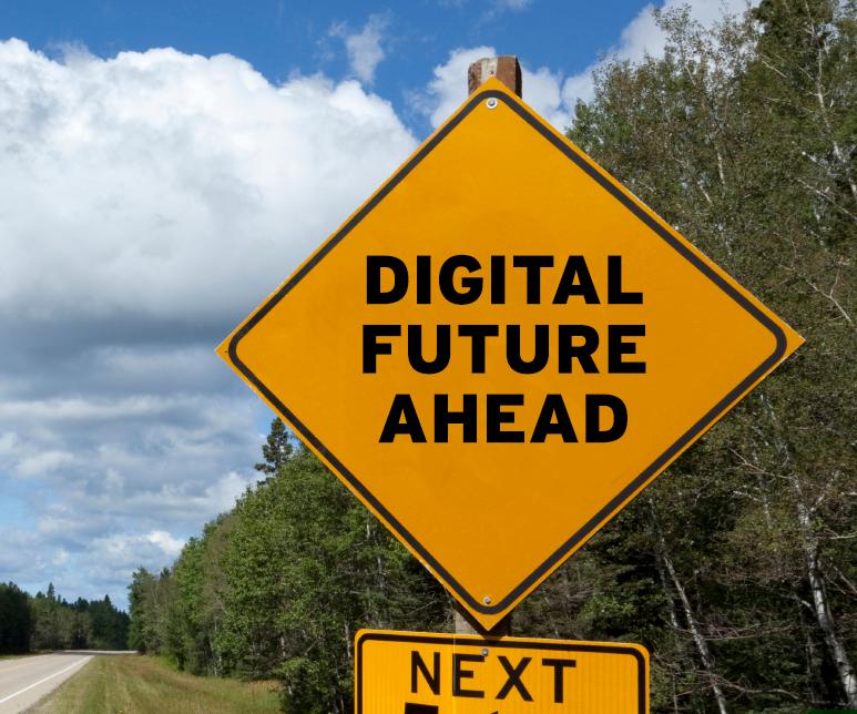 Digital Future Ahead road sign