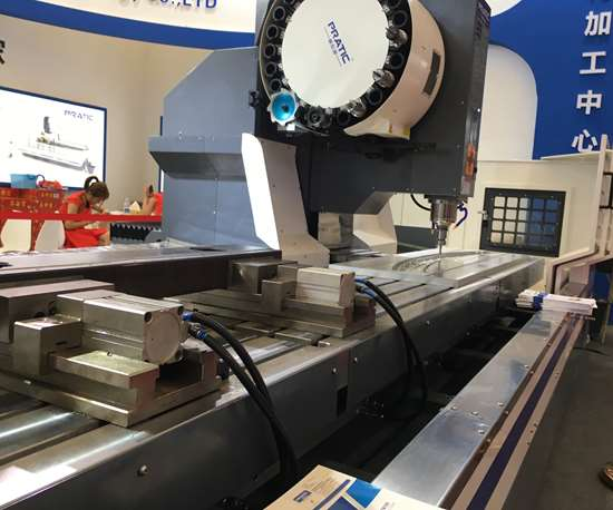 In addition to accommodating large parts, the workzone of this PYB-CNC4500S from Pratic is large enough to set up multiple smaller parts while the spindle is engaged elsewhere