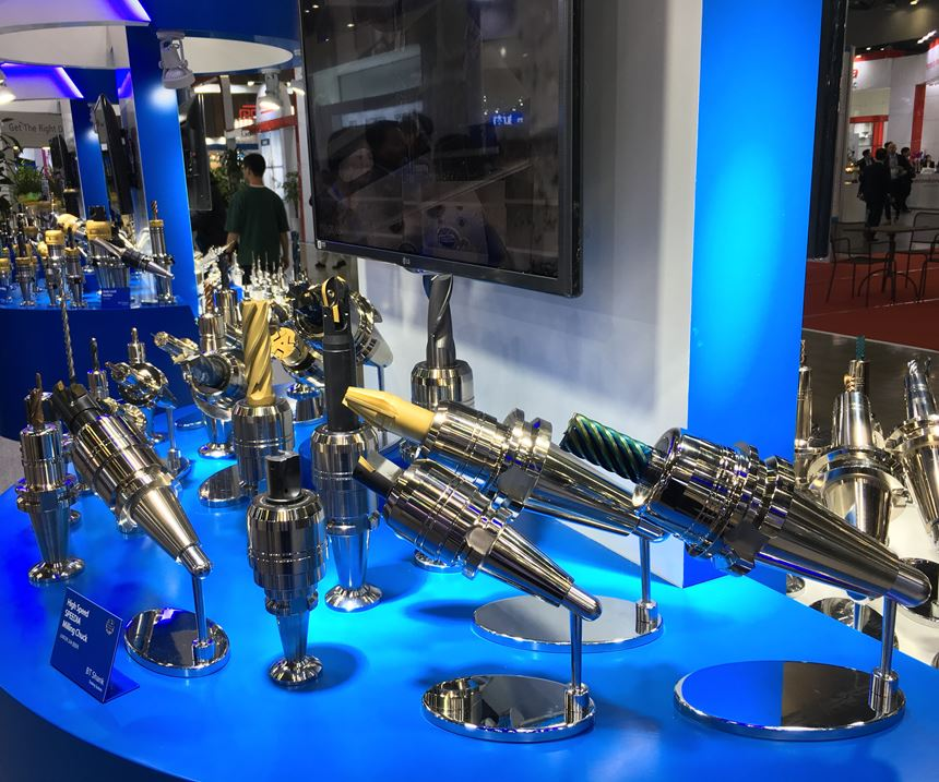 A table display shows off BT-taper toolholders at Samchully's booth at the SIMTOS show in South Korea.