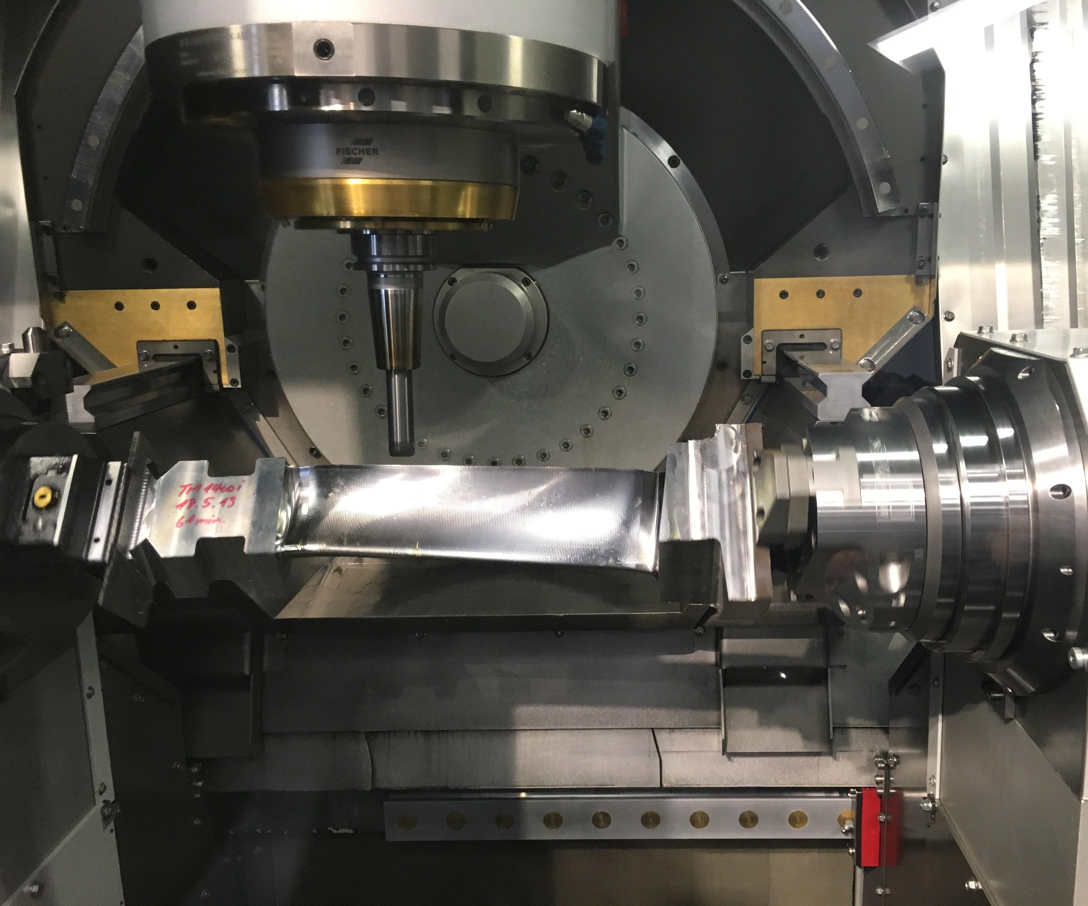 GF Machining Solutions' Liechti Turbomill 1400G machines a turbine blade from solid billet.