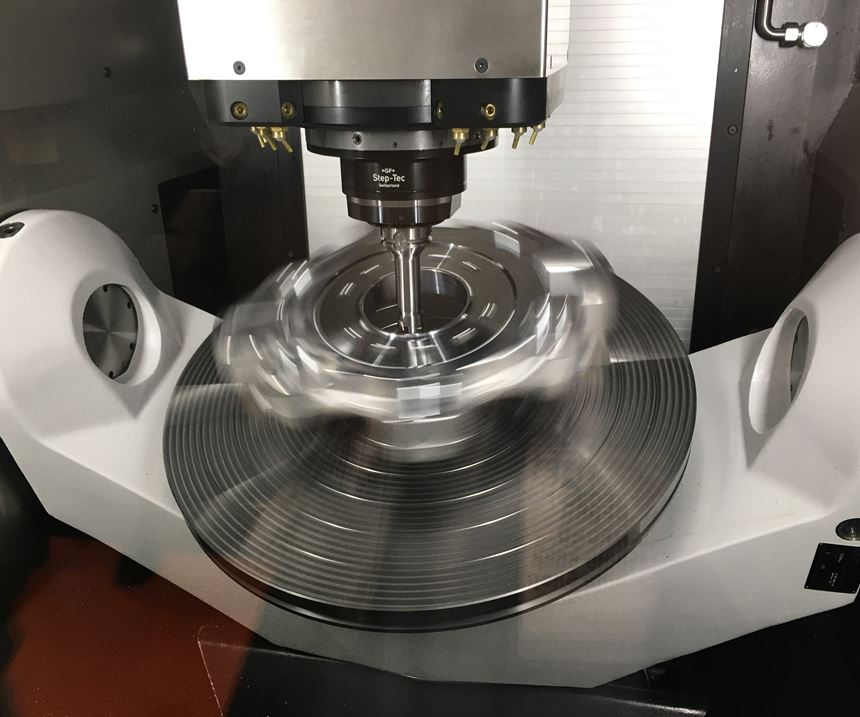 GF Machining Solutions' Mikron Mill P 800 U ST locks its spindle and angles its trunnion table for turning operations on a large, symmetrical component.