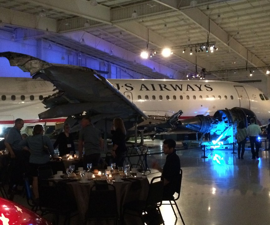 """Dinner under the """"miracle on the Hudson"""" plane set the tone for the next day's opening of the GF Machining Solutions Aerospace and Energy Competency Center."""