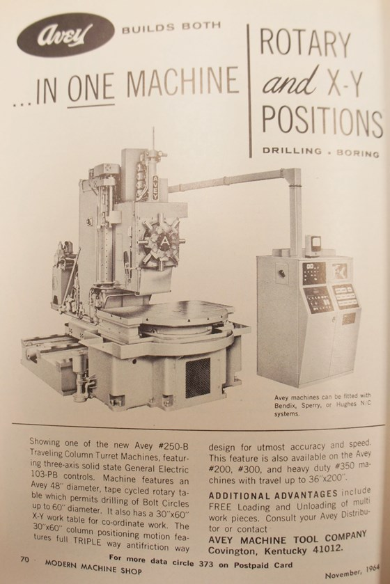 An ad from the November, 1964 issue of Modern Machine Shop depicts an NC-controlled machine.