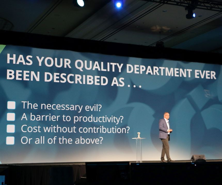"Norbert Hanke, president of Hexagon Manufacturing Intelligence, urges manufacturers to ""rethink quality"" in his keynote address at HxGN Live 2018 at the Venetian Hotel in Las Vegas."