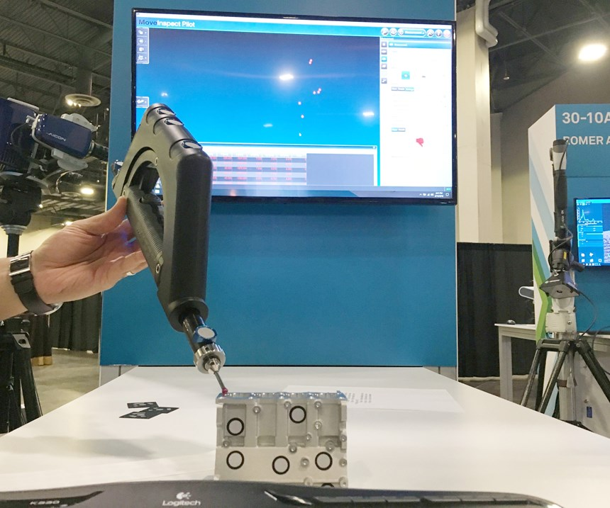 A demonstration of the Aicon MoveInspect XR8 scanner shows how the unit tracks argets on a handheld probe and the workpiece to enable mapping on the move without regard for vibration or other external influences.