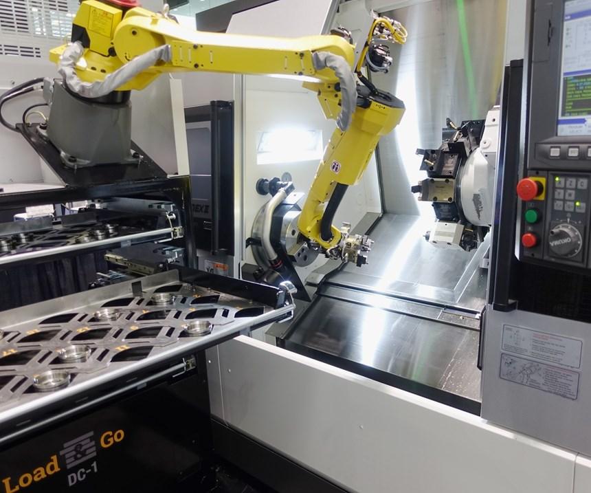 Okuma lathe with robotic system from Gosiger Automation.
