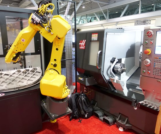 Haas lathe with automation from APT Manufacturing.