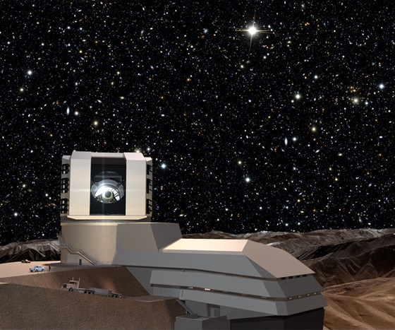 Artist's rendering of the Large Synoptic Survey Telescope following construction in Chile
