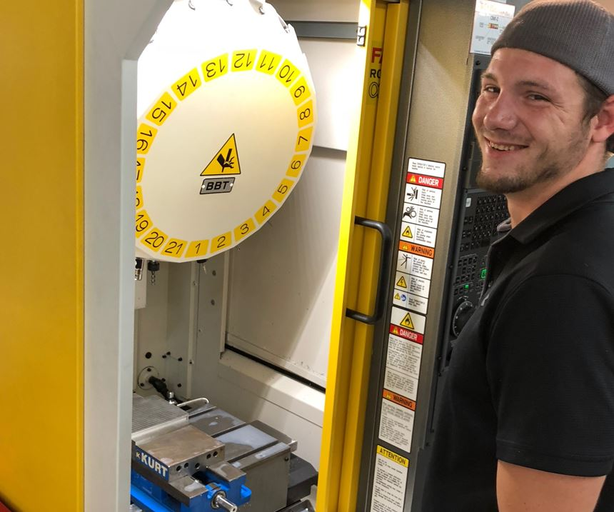 machinist with FANUC Robo Drill