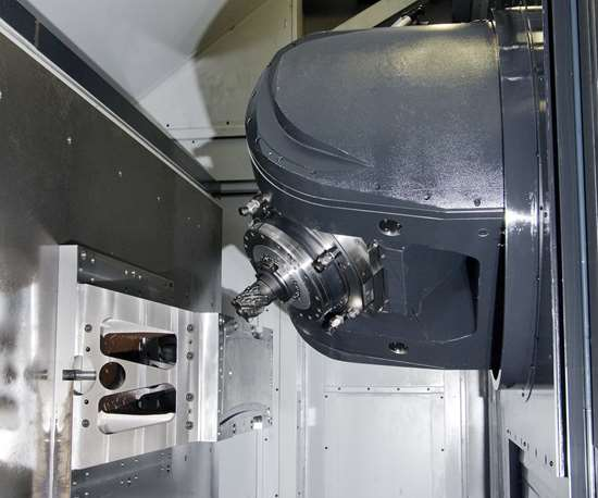 a five-axis machining center with a swivel head