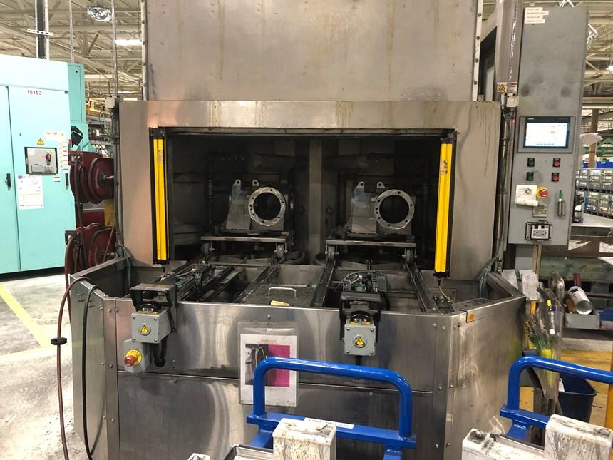 Axle housings loaded in the Heller Machine