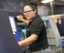 Elena Rodriguez operates machines at Pioneer Service