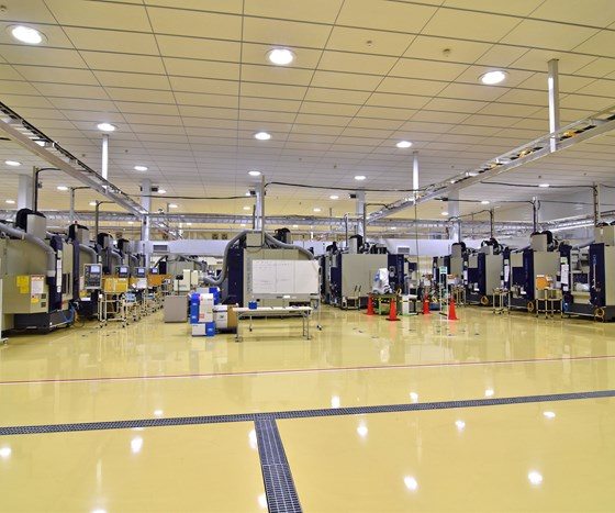 AeroEdge factory floor with rows of Mitsui Seiki Vertex 55-II VMCs