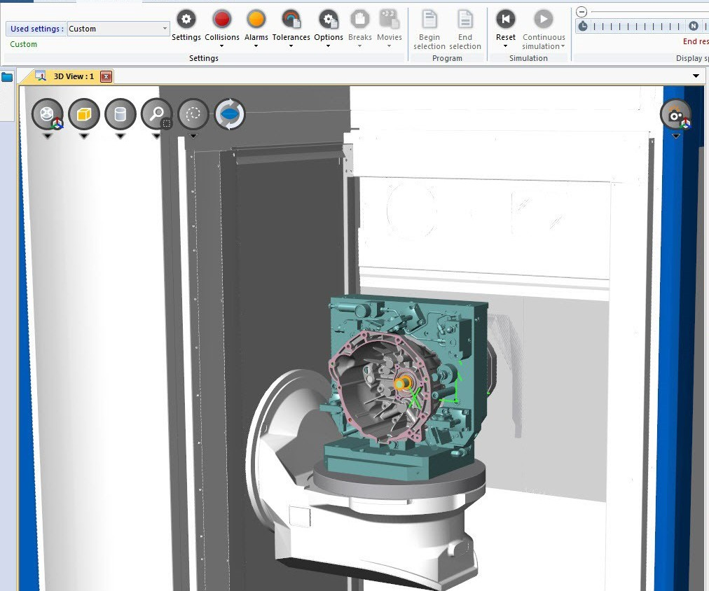 Screenshot of Spring Technologies' NCSIMUL CNC software
