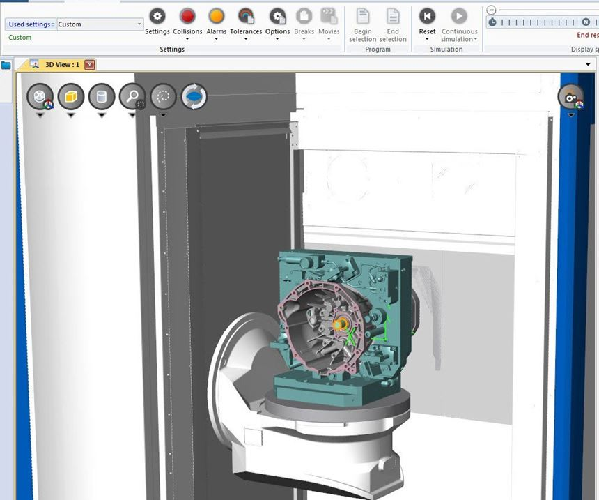 Screenshot of Spring Technologies' NCSIMUL CNC software
