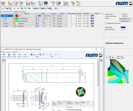 Screenshot of Numroto tool grinding software