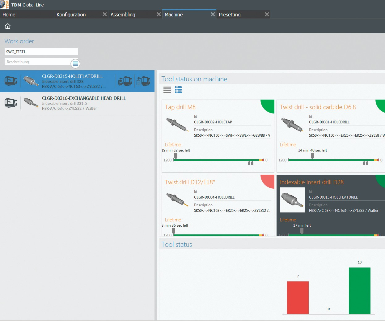 Screenshot of TDM Shopfloor Manager software