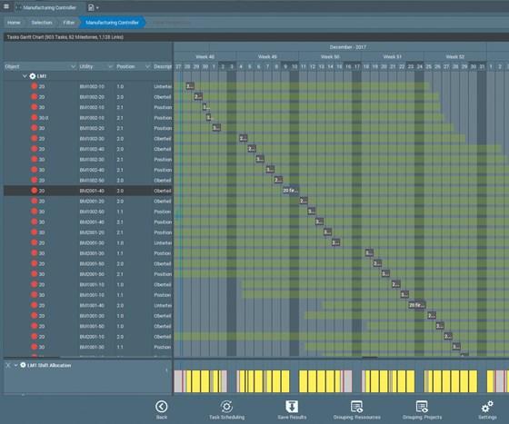 Screenshot of Tebis ProLeiS manufacturing execution system software