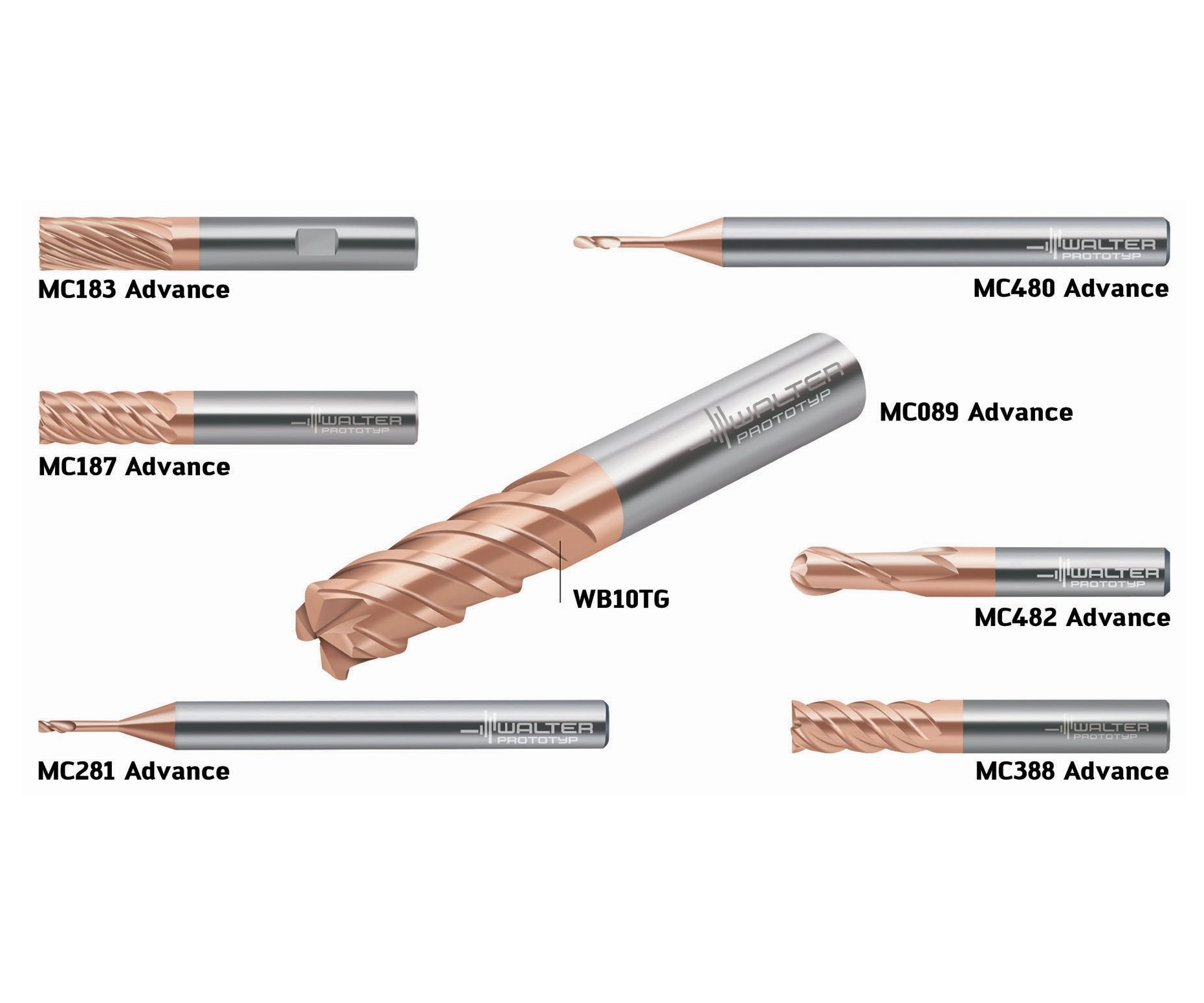 Walter ISO H Advance Line solid carbide milling cutters