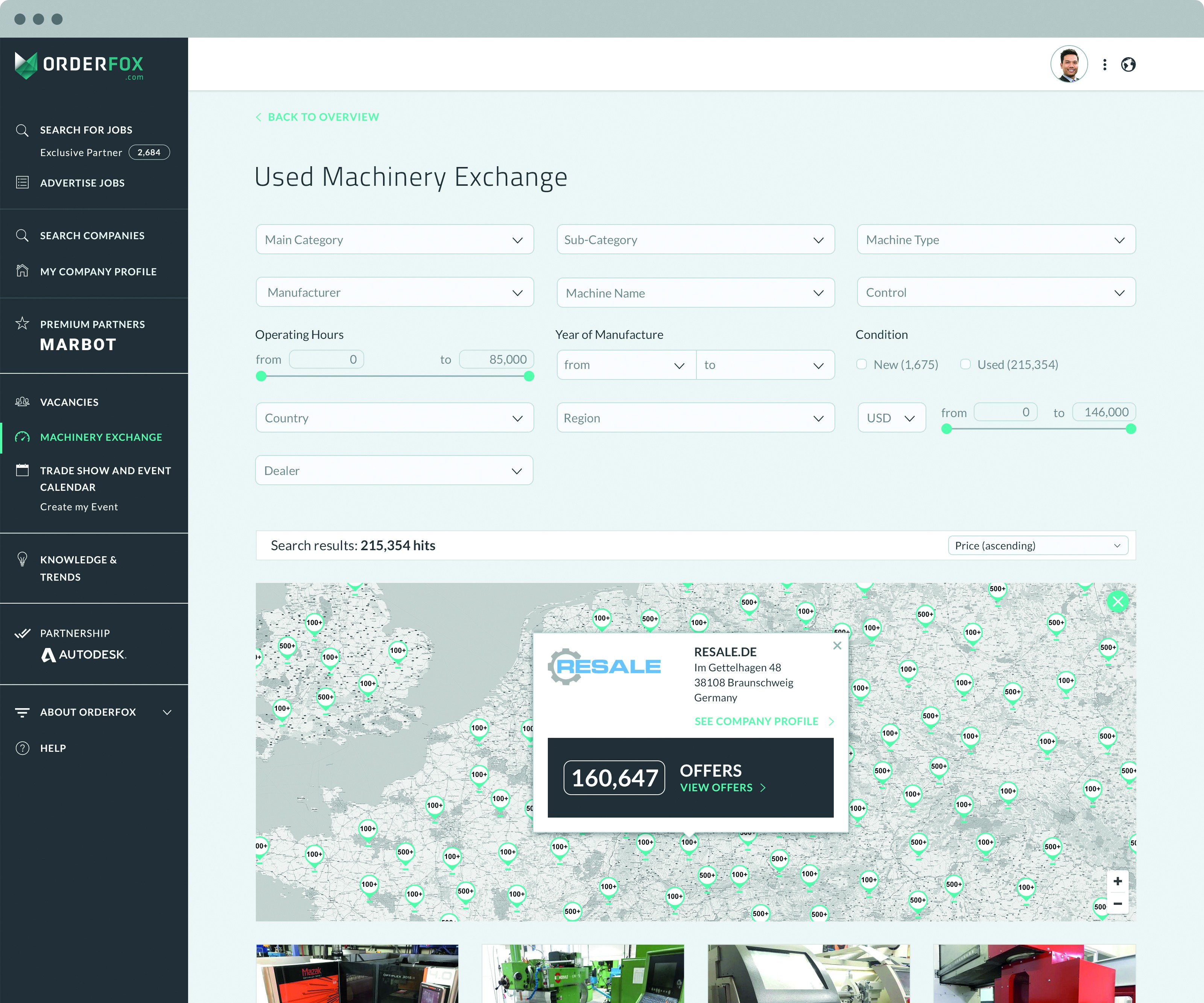 screenshot of used machinery exchange section