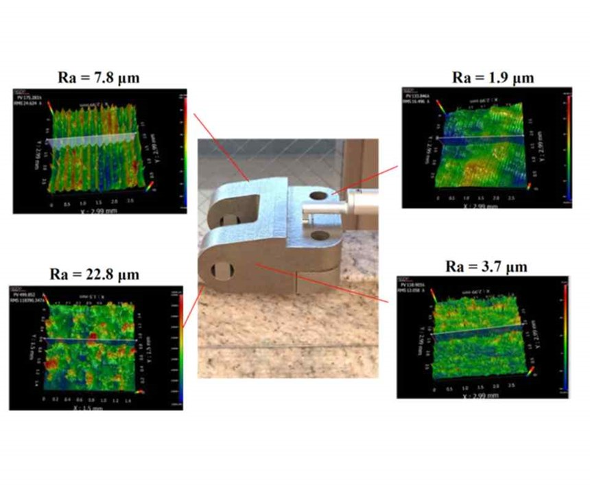 """roughness measurements on different """"as-built"""" surfaces of an Inconel 718 part"""