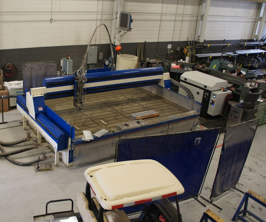 Viewed from above, the entire footprint of the waterjet and auxiliary systems appears especially large, but size is a chief advantage.