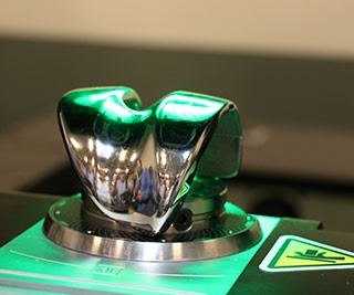 A display of a knee implant