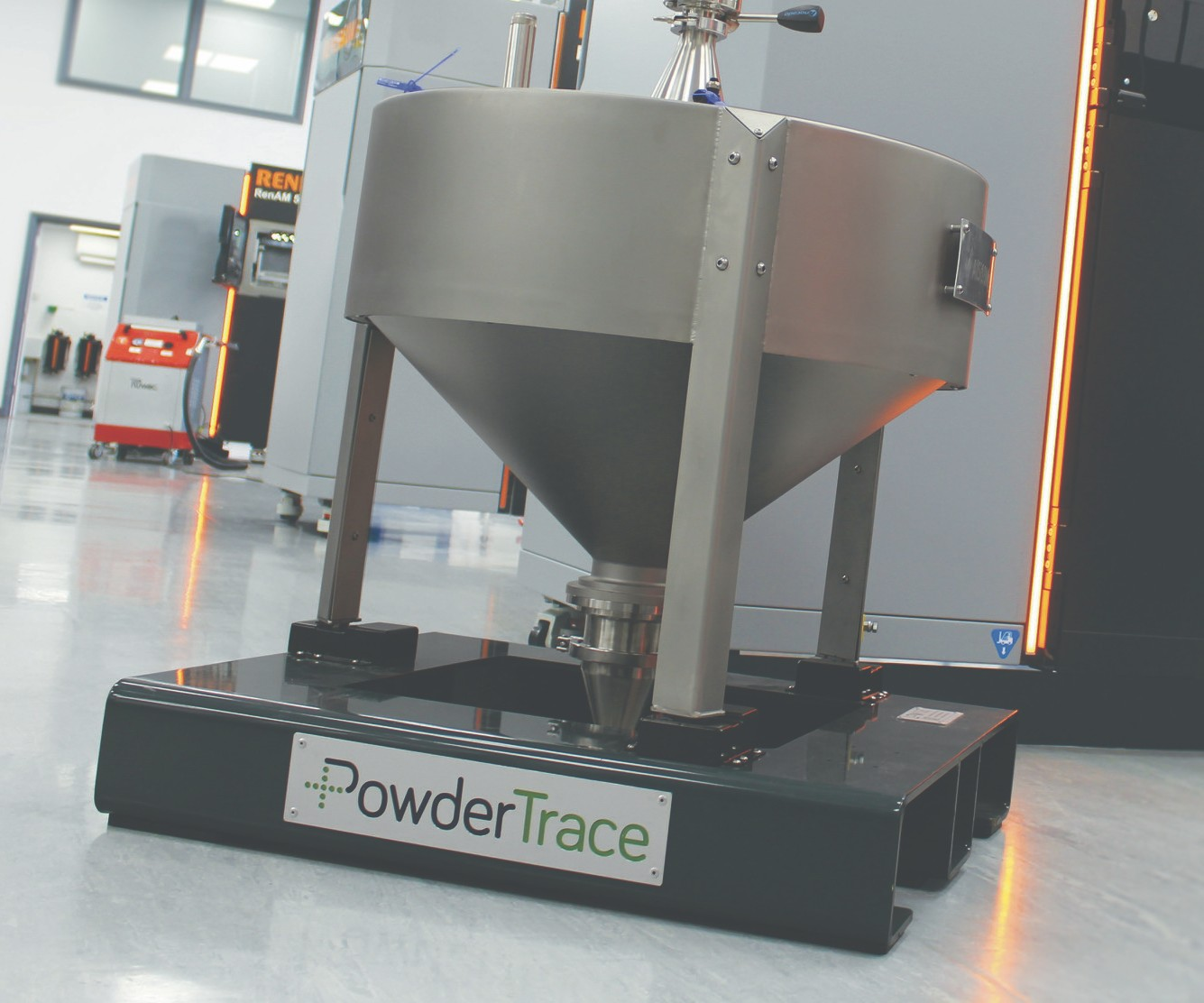 Renishaw will display its PowderTrace hopper at IMTS 2018.