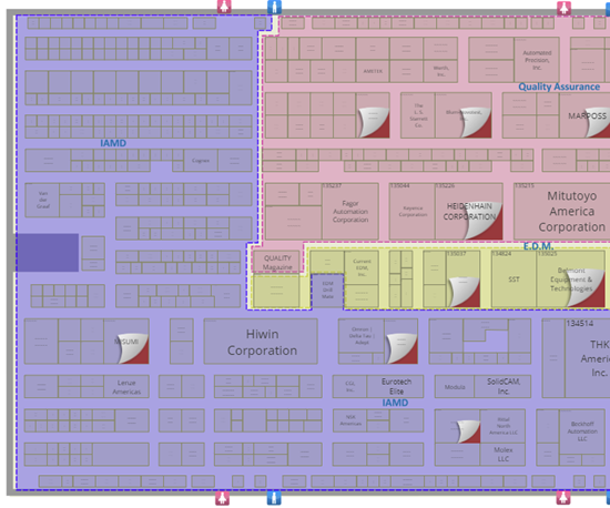 Floor plan, East Building, IMTS 2018, featuring IAMD.